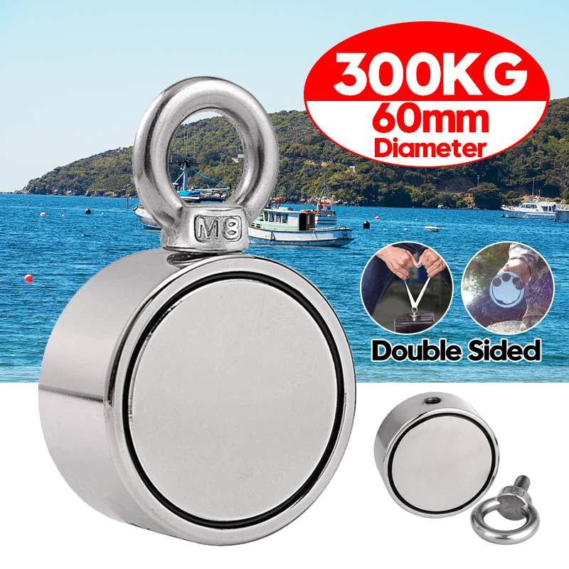 300KG Double Side Magnet Fishing Strong Round Neodymium Fishing Magnet Pulling Mounting Pot With Ring Hole Deep Sea Tool