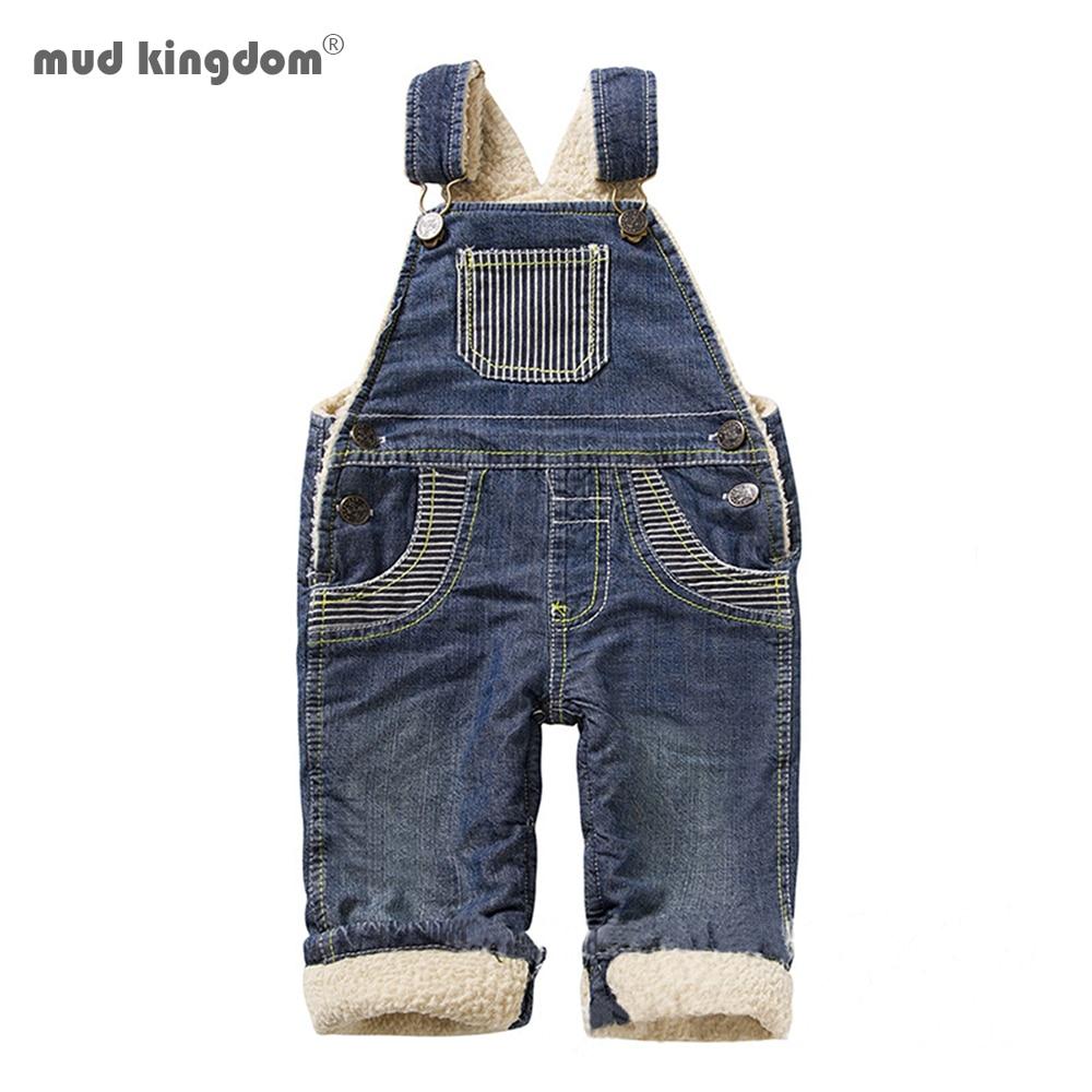 Mudkingdom Winter Thicken Warm Fleece Boys Denim Overall Baby Boy Girl Bodyjump Sherpa Overall Kids Trousers