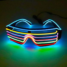 2019 Neon Party EL Glasses EL Wire Neon LED Sunglasses Light Up Glasses Rave Costume Party DJ SunGlasses Birthday Party Decor(China)