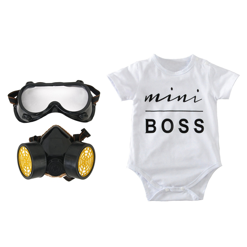 2 Set Protective Respirator + Romper: 1 Set Chemical Industrial Anti-Dust Mask + Protective Eyewear & 1 Set Newborn Infant Kids