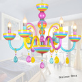 Европейская креативная красочная хрустальная люстра для девочек  спальня принцессы  детская комната  светильник  мультяшная свеча  люстра