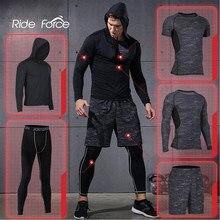 5 unids/set chándal de los hombres traje de deportes gimnasio de compresión ropa correr Jogging ropa deportiva de ejercicio medias