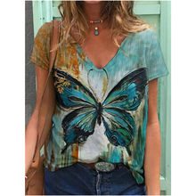 2021 Ladies Multicolor Summer Trend New Street Hipster Print Fashion Short-Sleeved V-Neck Pullover Loose Urban Casual T-Shirt