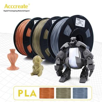 ACCCREATE drukarka 3D 1 75mm PLA Filament 0 5KG druk 3D drewno miedź aluminium PLA Filament odporny na uderzenia wytrzymałość na rozciąganie materiał tanie i dobre opinie CN (pochodzenie) Stałe 3D printer consumables 1 75 mm±0 02mm biodegradable plastics environmental protection no need to heat the printing platform