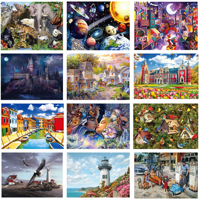 Jigsaw Puzzles 1000 Pieces Wooden Assembling Picture Landscape Puzzles Toys For Adults Children Kids Games Educational Toys