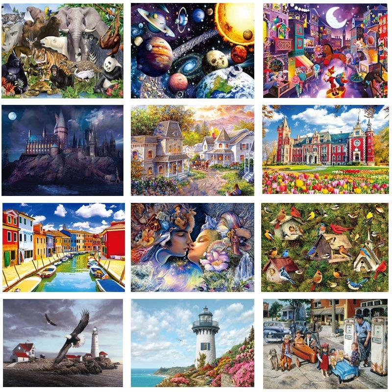 Puzzle 1000 elementów drewnianych przedstawiających krajobraz, układanka, zabawka dla dorosłych, dzieci, gra edukacyjna