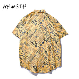 Image 2 - AFineSTH American Casual Couple Shirt letter Printed Male And Female Beach Turn down Collar Summer Shirt Single Breasted Short