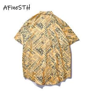Image 2 - AFineSTH สบายๆคู่เสื้อพิมพ์ชายและหญิง Turn down ปลอกคอฤดูร้อนเสื้อเดี่ยวหน้าอกสั้น