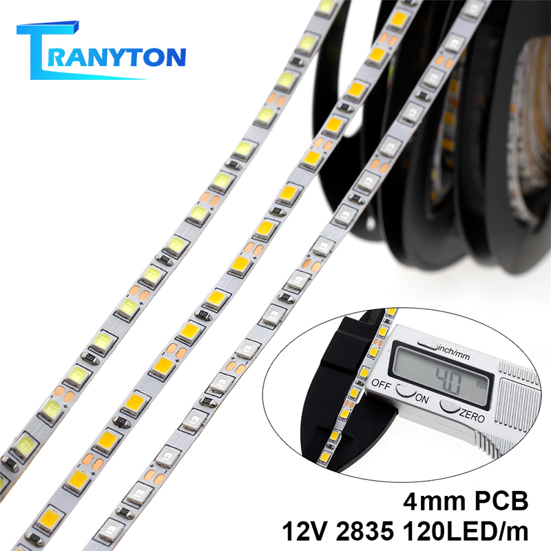 <font><b>4MM</b></font> Width <font><b>LED</b></font> Strip 2835 12V 120LEDs/M Flexible <font><b>LED</b></font> Light White Warm White Blue Green Red <font><b>LED</b></font> Strip Light. image