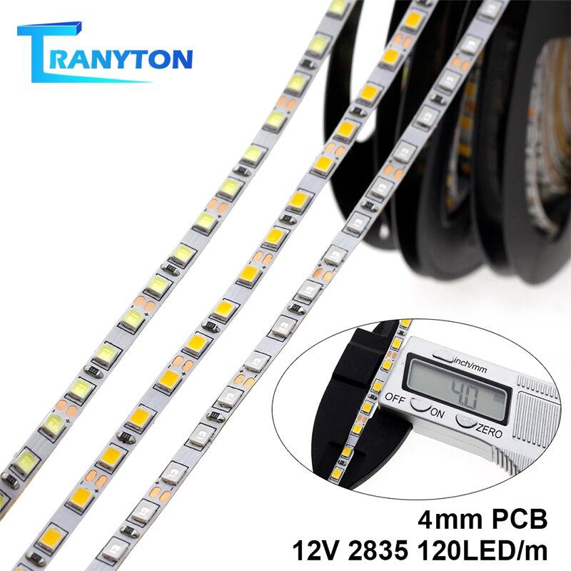 4MM Width LED Strip 2835 12V 120LEDs/M Flexible LED Light White Warm White Blue Green Red LED Strip Light.