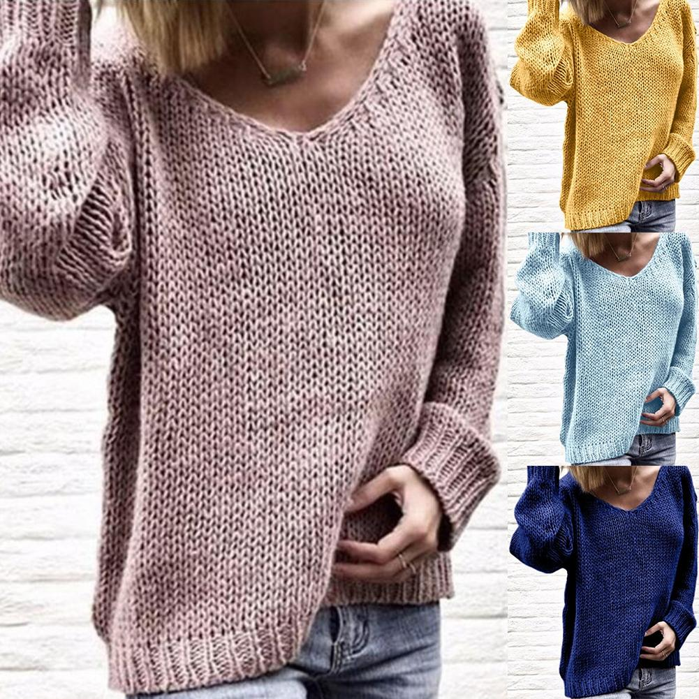 Casual Women Loose Solid Color Knitted Sweater V Neck Long Sleeve Jumper Top Knitted Fabric, Polyester, Spandex Women's Sweater