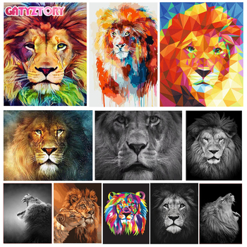 GATYZTORY DIY Painting By Numbers Lion Animals Oil Painting HandPainted Wall Decor Canvas Drawing Gift gatyztory diy painting by numbers flowers canvas drawing figure oil painting handpainted home decor gift