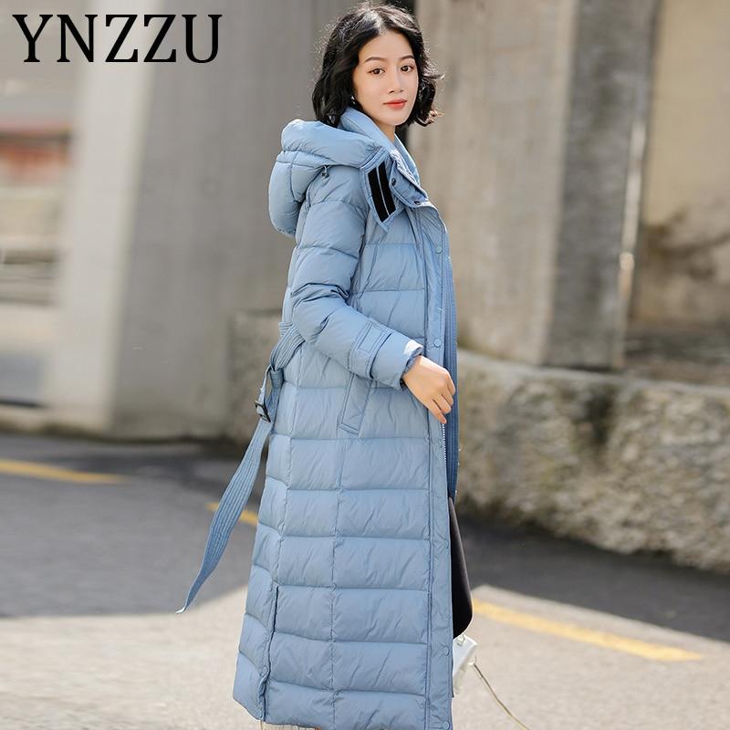 YNZZU 2019 New Elegant Winter Jacket Women Solid Office Lady Slim Sashes Warm Duck   Down     Coat   Hooded Windproof Outwears A1306