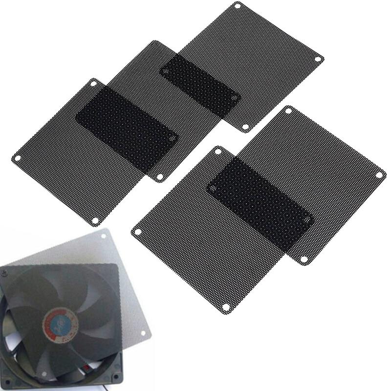 5Pcs 90mm PVC Black PC Fan Dust Filter Dustproof Case Computer Cooler Cover Mesh
