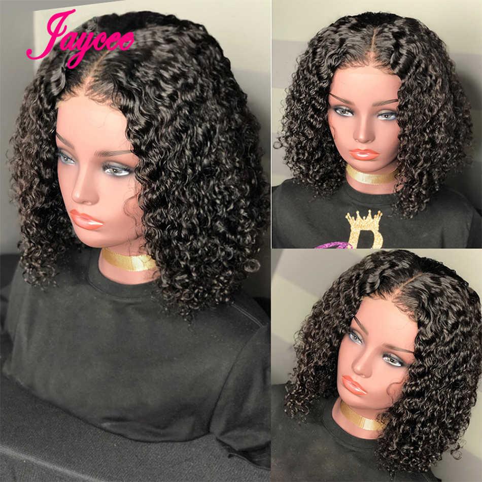 Jaycee perwersyjne kręcone koronki przodu peruki ludzkie włosy peruki z dziecięcymi włosami kręcone Bob peruki 13*4 koronki przodu peruka dla kobiet przednie tanie