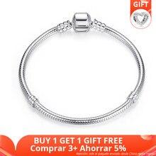 BAMOER üst satış otantik 100% 925 ayar gümüş yılan zincir bileklik bileklik kadınlar için lüks takı 17-20CM PAS902