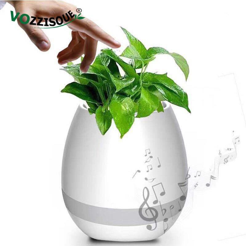 Bluetooth Speakers Music Flowerpot Smart Plant Pots Plastic Pot Finger Touch LED Night Light Home Design Desk Decorative Pots