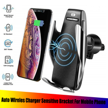 Qi Wireless Car Charger Holder Receiver Mount Smart Sensor 10W Fast Charging Bracket for iPhone Samsung Universal Phones
