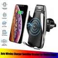 Soporte de cargador de coche inalámbrico Qi receptor de montaje Sensor inteligente 10W soporte de cargador de carga rápida para iPhone Samsung teléfonos universales