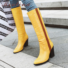 Meotina Winter Knee High Boots Women Mixed Colors Thick Heel Long Boots Fashion Super High Heel Shoes Lady Autumn Big Size 34-43