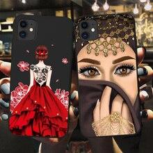 Luksusowa kobieta korona hidżab twarz muzułmanin islamski Gril oczy pokrywa etui na telefony dla Iphone 11 Pro Max X 6S 7 8 Plus XR XS MAX SE 2020