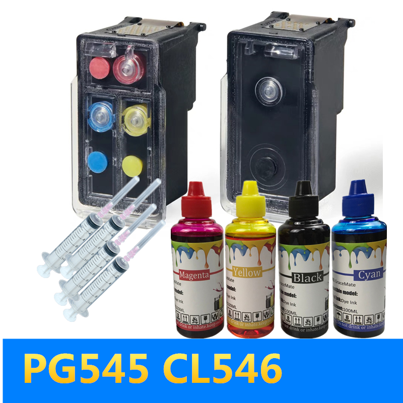 GraceMate PG545 CL546 Compatible Refillable Ink Cartridge For Canon Pixma MG2950 MG2550 MG2500 MG3050 MG2450 MG3051 MX495