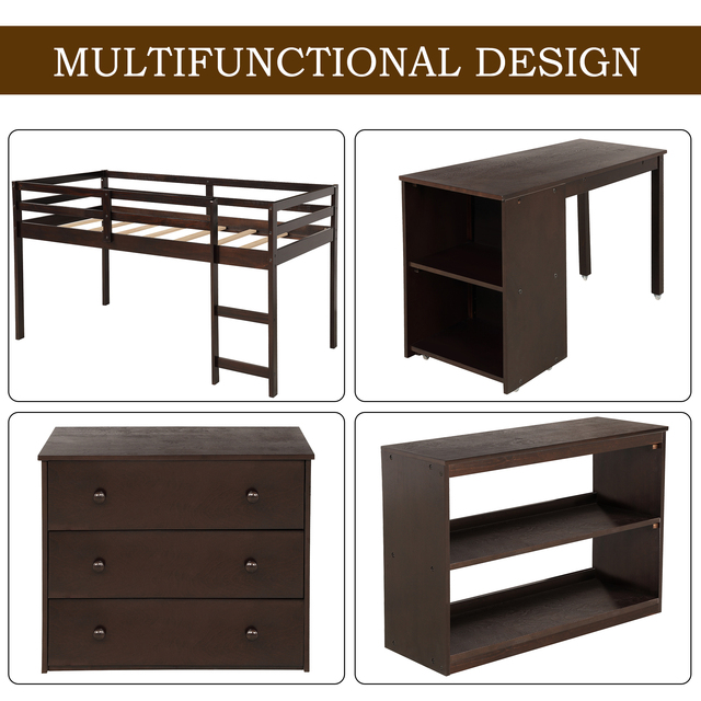 Twin Loft Bed with Cabinet and Desk 4