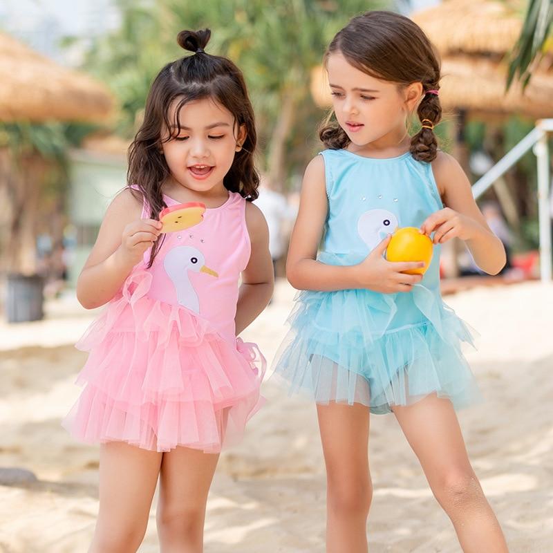 2019 Xiqi New Style KID'S Swimwear Baby Girls Cute Swan Bathing Suit Mesh Dress GIRL'S One-piece Swimming Suit