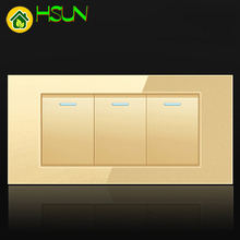 US Tempered Glass Champagne 118 Type Switch Socket 1/2/3/4/5/6/7/8 Gang 2 Way Real Glass Panel LED Guide Light Mounting Box