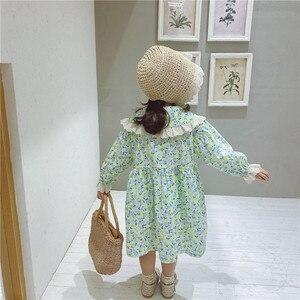 Image 2 - Vestido de princesa con cuello de encaje grande para niña, vestido de princesa con estampado de flores de manga larga de algodón de estilo coreano, novedad de primavera