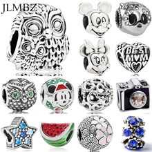 JLMBZ 45 Style Owl/Mouse/Star/Mom/Animal/Heart/Skull DIY Charms Fit Pandoraa Bracelet & Necklaces Pendant Beads Jewelry Making(China)
