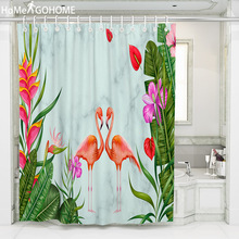 Green Tropical Plants Shower Curtain Bathroom Waterproof Polyester Flamingo Shower Curtain Leaves Print Curtains for Bath Shower цена 2017