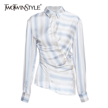TWOTWINSTYLE Asymmetrical Hit Color Stripe Blouse For Women Lapel Collar Long Sleeve