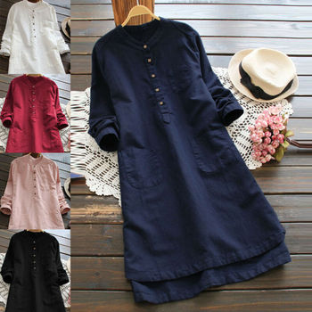 Plus Size Womens Cotton Loose Long Sleeve Party Dress Casual Tops Blouse Shirt Big S-3XL