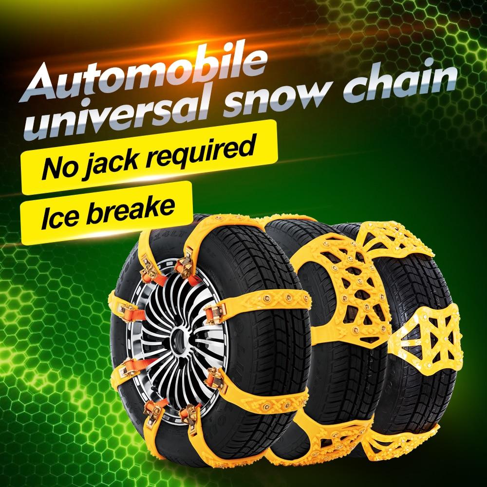 Corrente de neve suv anti-skid lama neve pneu corrente de emergência alívio gelo quebra correntes neve carro grosso tpu não ferir os pneus
