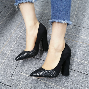 Image 5 - Onlymaker Womens Pointed Toe Block Classic 12cm High Heels Slip On Thick Shoes Wedding Office Dress Big Size Chunky Lady Pumps