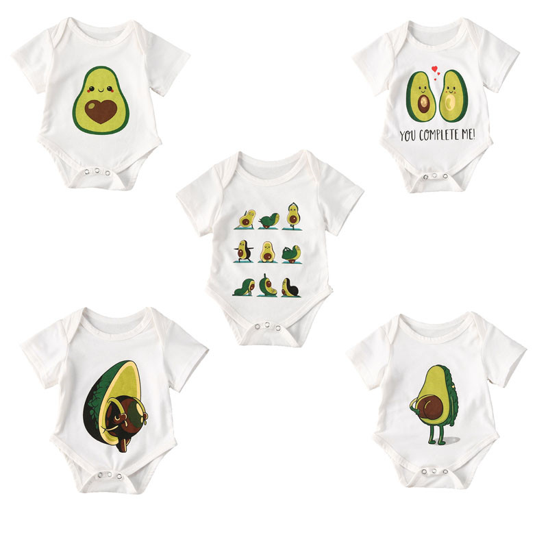 5 Style Avocado Print Short Newborn Baby Clothes Fruit Cotton Summer Rompers Kids Baby Girl Jumpsuit Toddler Costume Boys Romper