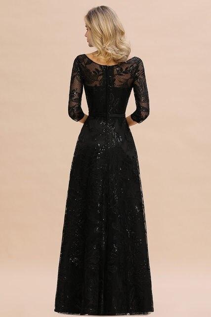 Elegant Black Lace A-line Mother Of The Bride Dresses Modest O-neck 3/4 Sleeves  Wedding Party Dresses Vestido De Madrinha 2
