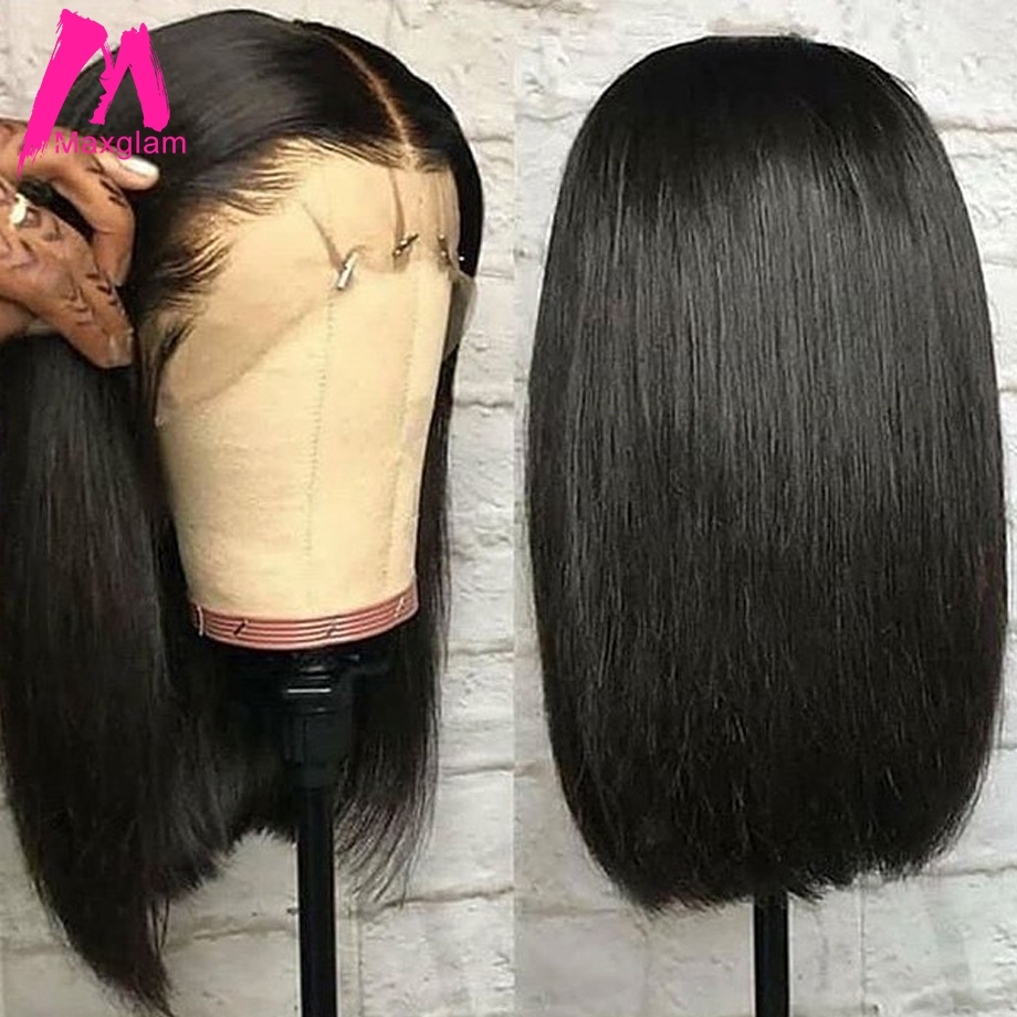 Lace Front Human Hair Bob Wigs Brazilian Short Straight Closure Wig Natural Pre Plucked Glueless Remy Hair For Black Women Long