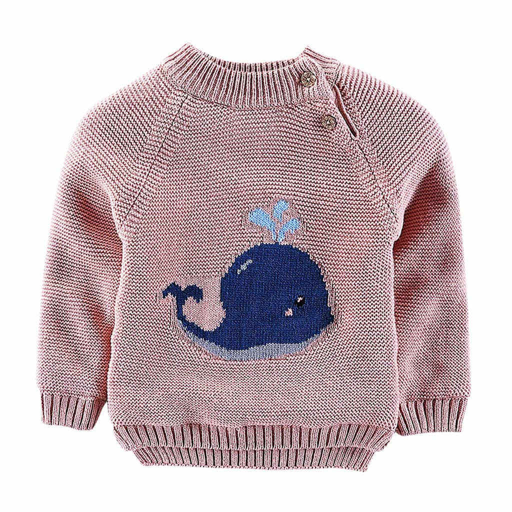 Baby Sweater Children Print Knitting Sweaters Girl Boy Clothes Cartoon Cetacean Toddler Clothes Autumn Winter Costumes for 6M-4T