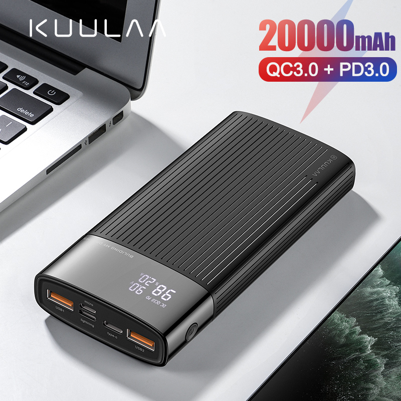 KUULAA Power Bank 20000mAh USB Type C PD Fast Charging + Quick Charge 3.0 PowerBank 20000 MAh External Battery For Xiaomi IPhone