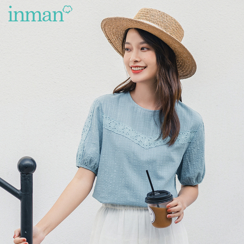 INMAN 2020 Summer New Arriavl Literary Round Collar Lace Splicing Leisure Loose Jacquard Weave Blouse