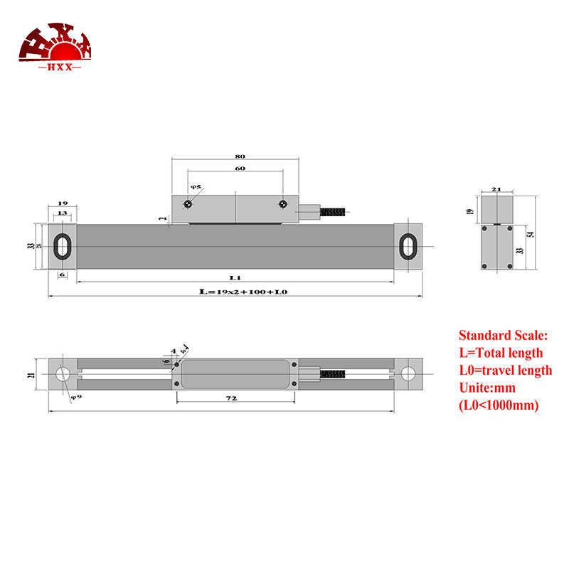2//3 Axis Digital Readout TTL Linear Glass Scale DRO Encoder 25mm-1000mm
