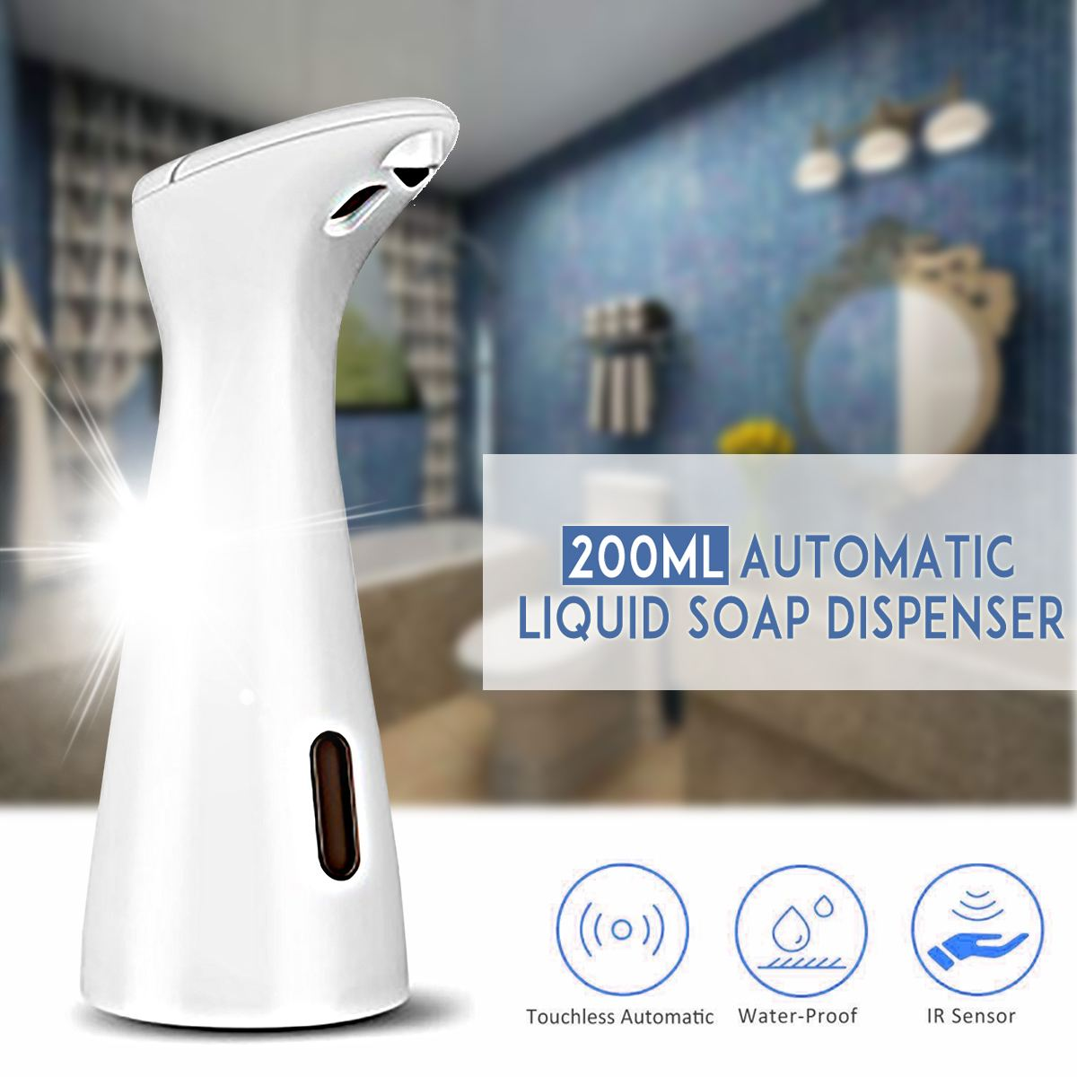 200ml Automatic Liquid Soap Dispenser Intelligent Sensor Touchless Auto Foam Hand Washing Kitchen Bathroom Smart Home image
