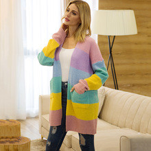 ZADORIN Rianbow Striped Cardigan Women Sweater Long Sleeve Open Stitch Knitted Cardigan Kawaii Cute Sweater Fashion Casual Coat open front colorful striped cardigan
