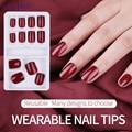 12 шт./компл. накладные ногти с полным покрытием, Многоразовые Накладные ногти для дизайна ногтей, разного размера, с клейкой наклейкой, инстр...