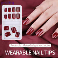 12 Pcs/Set Full Cover Fake Nail Tips Reusable False Nail Art Form Mixed Size Extension Tips With Adhesive Sticker Manicure Tool