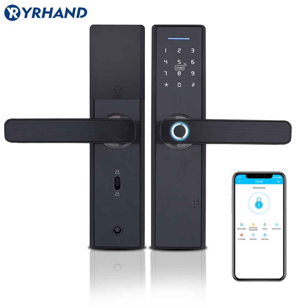 TT lock app WiFi Smart Fingerprint Door Lock, Electronic Door Lock,Smart Bluetooth Digital APP Keypad Code Keyless Door Lock-in Electric Lock from Security & Protection