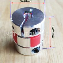 Acoplamento flexível d20 l25 4mm 5mm 6mm 6.35mm 7mm 8mm 10mm acoplamento elástico do eixo da maxila do motor do cnc