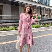 Herfst Winter Roze Plaid Tweed Wollen Lange Jas Vrouwen Notched Double Dreasted Sjerpen Ruches Wollen Overjas Mermaid Bovenkleding(China)